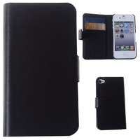 Black Leather Pouch Case Flip Cover With Credit Card Wallet For iPhone 4 4S
