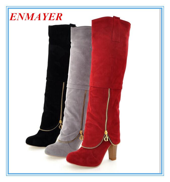 ENMAYER Women's Boots new 2014 Autumn winter New fashion ladies sexy Knee high boots high-leg zipper long boots 34-43(China (Mainland))