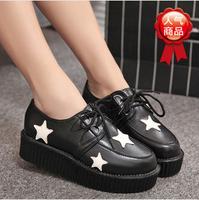 2014 new platform Japanese single shoes  ladies women's shoes High heel Graffiti lace-up E105