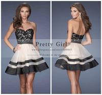 vestidos de fiesta 2014 black lace appliques bodice dress sweetheart strapless short a-line cocktail dress party cocktail dress