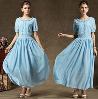 High Quality Retro Elegant Hot Sale Puff Sleeve Round Collar Pure Color Chiffon Long Dress Sky Blue Free Shipping