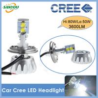 2014 New 1 Set 80W H4 H/L 50W 3600LM H1 H4 H7 9005 9006 H11 H13 9004 9007 CREE MKR Led Car Headlight Kit Fog Lamp DRL Bulbs