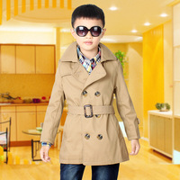 Good quality children's wear boy's trench coat in 2014 autumn outfit child long double row children trench coat