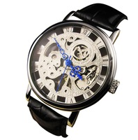 5pcs/Lot Skeleton Watch Winner Luxury Brand Mechanical Watches Blue Needles Stainless Steel Case Sports watch PU Strap CGX07