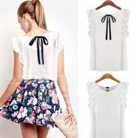 Hot Cute Women Sleeveless O-Neck Blouse Casual Chiffon Tank Tops T-Shirt  #58496