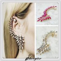 Classic Hot pink Clear Crystal earrings Pearl earring Delicate Rhinestone Ear cuff 2014 Fashion women clip earrings