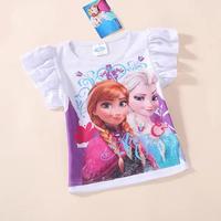 Hot New 2014 Custom-made Movie Cosplay T shirt Summer Girl T Shirt Costume Princess Elsa T Shirt from Frozen for Children