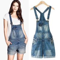 2014 brand new summer  denim jumpsuit shorts european style casual denim overalls slim short jeans