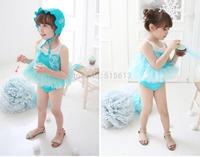 Retail New Summer Hot 2-10Y girls swimsuit korea frozen elsa fashion rompers with lace cloak Children's two pieces kids swimwear