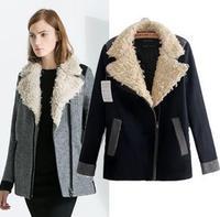 Korean style women winter trench coat fur collar thick medium-long slim design ladies brand coat windbreaker warm outerwear