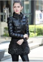 2014 Fashion Slim Stand Collar Leather Down Parkas Winter Coat For Women 4 Colors M-XXXL