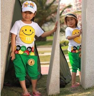 On Sale! Retail 1Set Children's Fashion 2014 Summer Smile Face Suits Boys Girls 2PCS Clothing Sets Short Sleeve CCC262(Hong Kong)