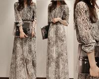 High Quality 2014 Korean New Arrival Long Sleeve Snake Skin Printed Chiffon Long Dress Free Shipping