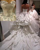 Wholesale 2014 New Amazing Sparkling Crystal Ball Gown Wedding Dress Sweetheart Satin Royal Train Bridal Gowns Vestido De Noiva