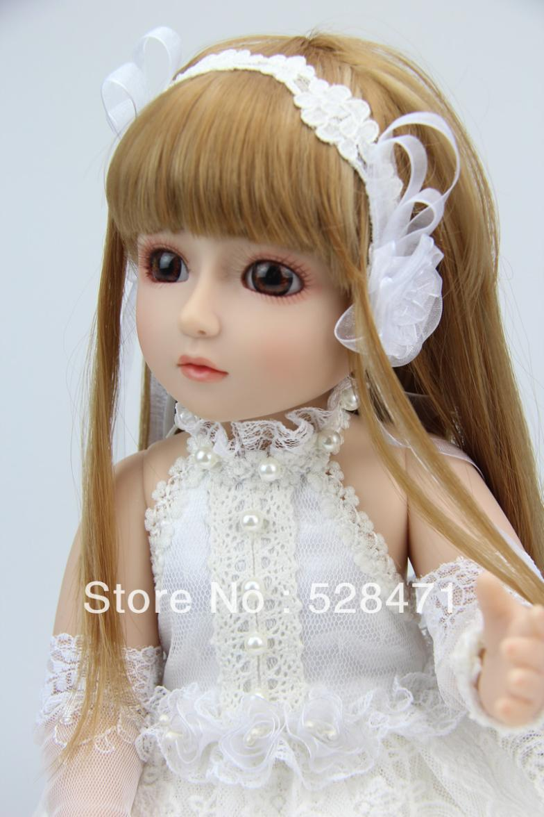 45cm SD BJD finished reborn baby doll for girls Brown long ...