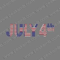 China Hotsale 50Pcs/Lot Iron On Rhinestone Letter July 4Th Appliques Clothing Heat Transfer Free Shipping