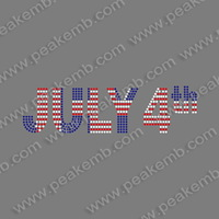 China Hotsale 50Pcs/Lot Iron On Rhinestone Letter July 4Th Appliques Clothing Heat Transfer Free Shipping
