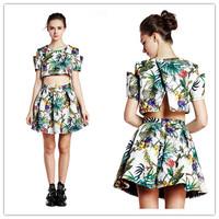 Designer Women Tropical Print Slip Sleeves Crop Top And High Waist Pleated Skater Skirt 2 Piece Set American Apparel saias 2014