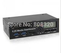 Free shipping!!! PC Media Dashboard Front Panel 20Pin USB 3.0 HUB SATA SD/MS/MMC/CF Card Reader