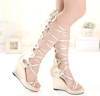 Free shipping 2014 new fashion women gladiator sandal boots wedge heel shoes gold genuine leather boots
