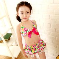 Big Bowknot  Bikini Top&Bottom Beachdress Girls Swimsuit Kids Swimwear 4-7 Year Lovery Fashion Bathing Suit  For Free Shipping