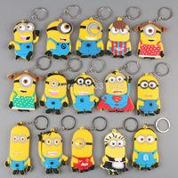 15pcs/lot Anime Cartoon Despicable Me 2 Minions Keychains PVC Figure Key Chains Key Ring Pendants Mixed ANPD1421