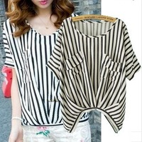 European  Fashion Double Pocket Stripe Bat Sleeve Top Blouse