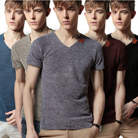 free shipping 2014 summer new men net cloth v-neck men's T-shirt with short sleeves  breathable summer wear