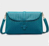 New 2014 women leather handbag fashion genuine leather bag diagonal weave pattern shoulder bag natural skin women messenger bag