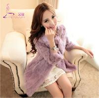 Fall Winter Warm Luxury Overcoats Ladies Elegant Real Rabbite Fur Jacket New Fashion Long Style Women's Fur Outerwear Coat A871