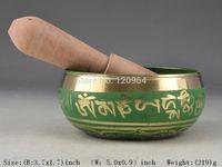 Excellent Tibetan green Copper Singing Bowl Antique Copper Bronze Bowls