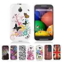 1pcs Flower Butterfly UK USA Flag Zebra Starfall Soft TPU Case For Moto E  XT1021 XT1022 XT1025 Back Glossy Cover
