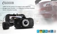 2014 New Dual Camera C6000B Car DVR Full HD 1080P with G-sensor+Night Vision+Rear Camera 720P Car Recorder Dash Camera