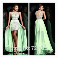 Elegant Lace Front Short long Back Evening Dress 2014 Formal Prom Dress Customize Free Shipping