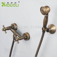 Wholesale & Retail Xiduoli Free shipping Antique Brass Cross Dual Handle Shower Set Bath Faucet XDL-1240