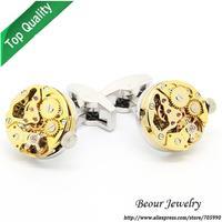 Shirt Cufflinks, Golden Steampunk Cufflinks with Small Round Identical Vintage Movement Watch Movements  OP1041