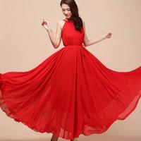 OVO! With belt! New 2014 Bohemian style sleeveless dress chiffon maxi length dress women dress nine colorsdresses