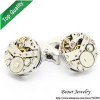 Shirt Cufflinks, Steampunk Watch Cufflinks, Vintage Clockwork Watch Movement Cuff Links OP1050