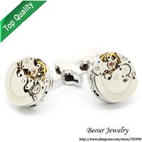Shirt Cufflinks, Silver Color Steampunk Watch Cufflinks, Vintage Clockwork Watch Movement Cuff Links OP1044