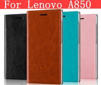 Leather pure color flip cover case for Lenovo A850 case Lenovo A850 cover