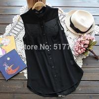 New ! 2014 summer women wild lapel sleeveless chiffon shirt size S-M-L