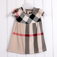 Retail New 2014 Summer Brand Baby Girl Dress Bow 100% Cotton Girls Plaid Dresses Kids dress  fashion  girl party dress #8240