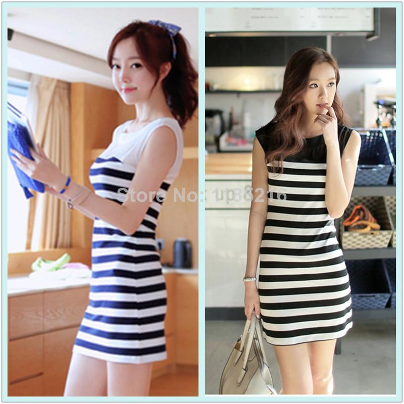 2014 New Summer Women Fashion Slim Bodycon Sexy Package Hip Striped Mini Vest Dress Vestido Casual Club Dress(China (Mainland))