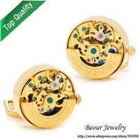 Shirt Cufflinks, Golden on Golden Kinetic Watch Movement Cufflinks OP1055