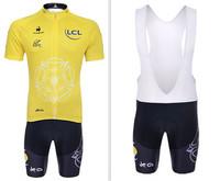 2014 Yellow Tour De France Summer Short Sleeve Pro Team Cycling Jerseys and Bib Shorts