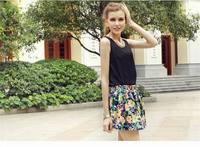 2014 women summer plus size Black Color Casual Tops Double Stitchin vest bottoming shirt sleeveless chiffon vest tank