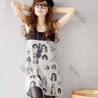 Casual Women's Head Print Mini Shift Dress Summer Dress Loose Sleeveless Stiching Vest Dress Freeshipping