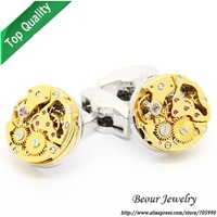 Shirt Cufflinks, Golden Steampunk Cufflinks with Small Round Identical Vintage Silver Color Bottom Watch Movements OP1034