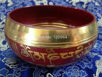diameter 40*90mm Tibetan Singing bowl Red Om Mani Padme Hum Singing Bowl Great SoundAntique Copper Bronze Bowls