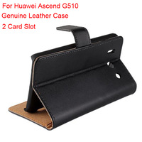 Mix Color Book Style Genuine Leather Card Slot Case Cover For Huawei Ascend G510 with Stand